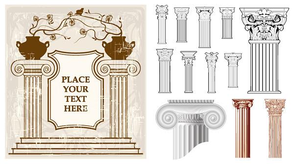 古典花纹柱子