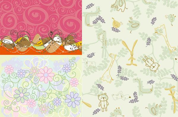 eps格式,矢量花纹,卡通背景,花纹背景,可爱背景,动物图案背景,矢量