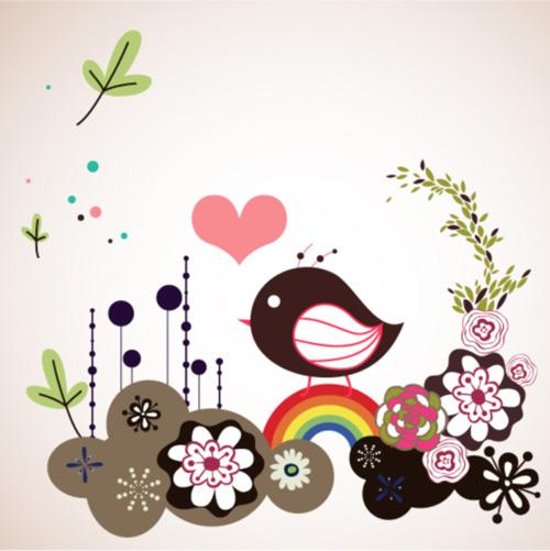 可爱花朵小鸟_矢量花纹