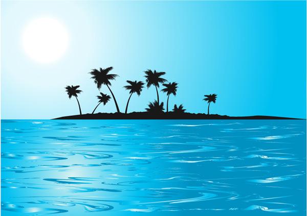 椰子树小岛_矢量自然风景 - 素材中国_素材cnn