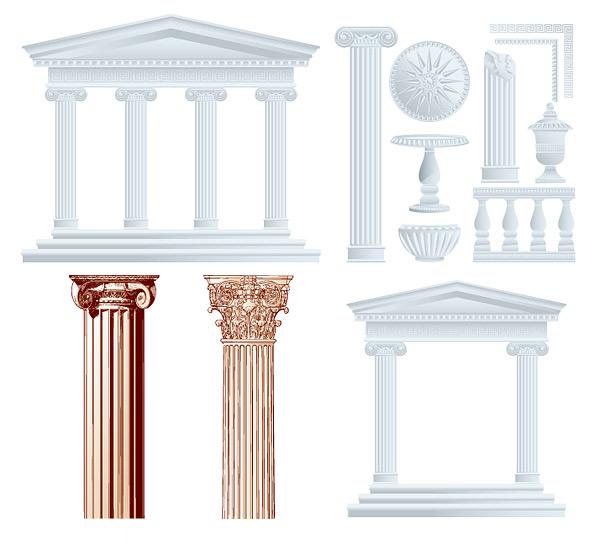欧式花纹柱子_矢量建筑景观