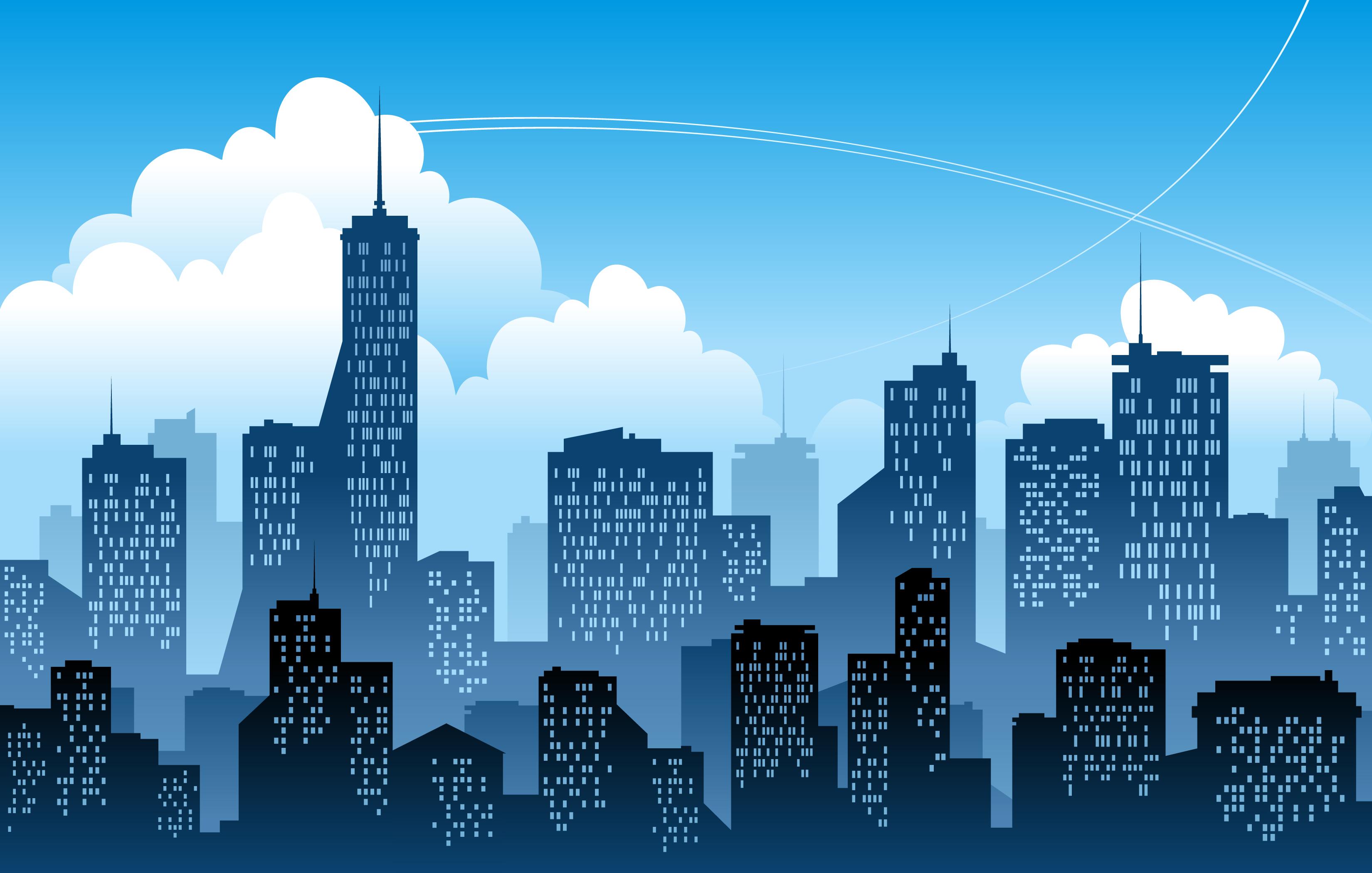 eps格式,矢量城市,天空,高楼大厦,剪影,插画,建筑物,矢量素材 下载