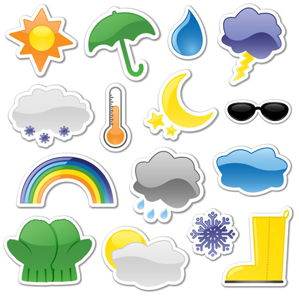 关键词: 贴纸风格天气图标矢量