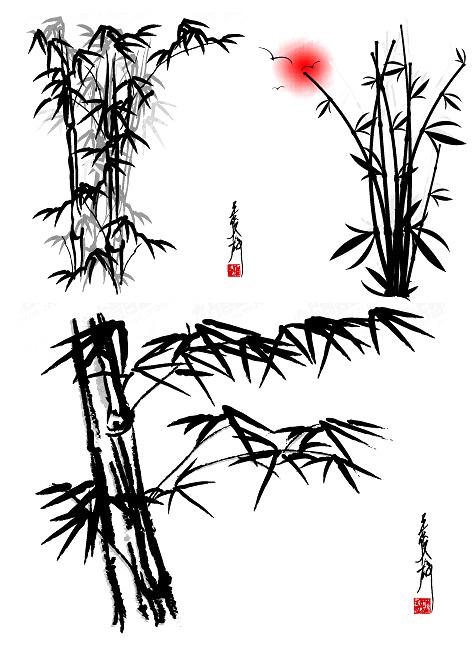 国画竹子步骤图片