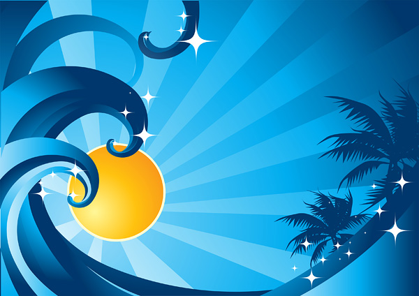 太阳海浪椰子树