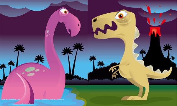 可爱恐龙矢量图片