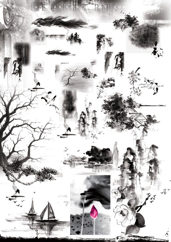古代山水画画松树