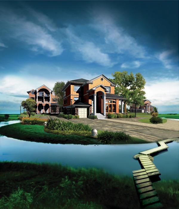 小桥流水 别墅 建筑图片素材,地产豪宅庄园别墅广告psd素材