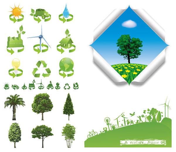 素材 环保 图标/树木与环保图标...