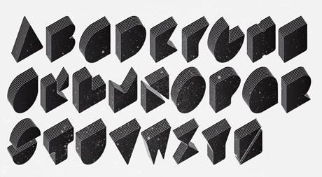 几何型体积感字母