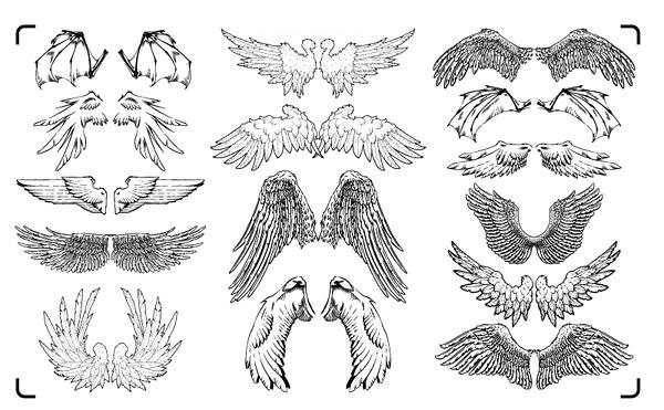ai格式,cdr格式,gomedia出品矢量素材-set14,矢量翅膀,手绘,蝙蝠翅膀