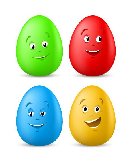 eps格式,jpg预览图,关键字:矢量鸡蛋,卡通,笑脸,表情,眼睛,嘴巴,可爱