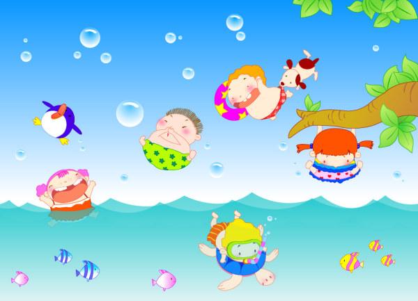 快乐,儿童,游泳,可爱,气泡,鱼类,海水,树枝,绿叶,小狗,企鹅,矢量素材