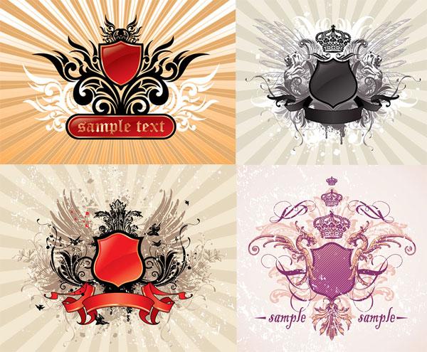 矢量素材,皇冠,翅膀,花纹,盾牌,欧式,复古,龙,狮子,光芒,放射线背景