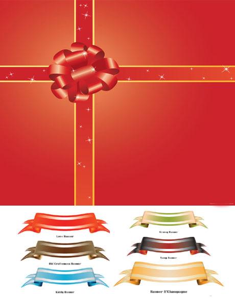 礼品包装丝带矢量