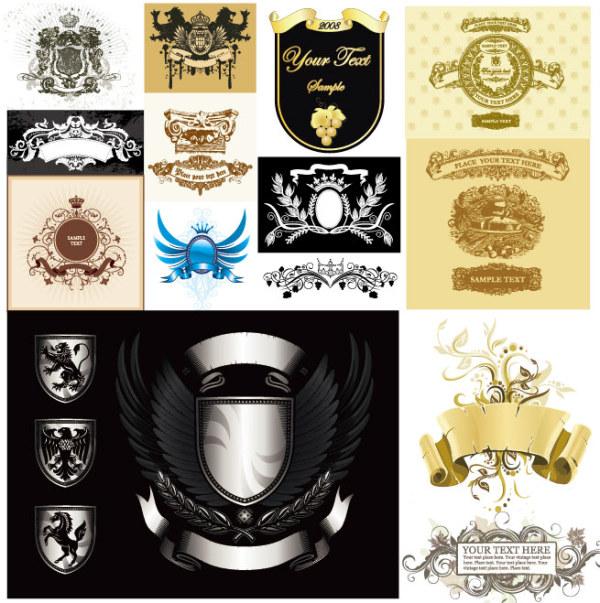多款欧式设计元素矢量,欧式,翅膀,盾牌,怀旧,复古,花纹,葡萄,丝带,麦穗,banner,狮子,马匹,鹰,皇室,华丽,矢量素材,EPS格式
