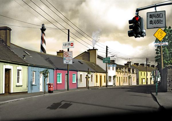关键词: 小镇街景,路,风景,路牌,民居,房子,高清图片素材,jpg格式