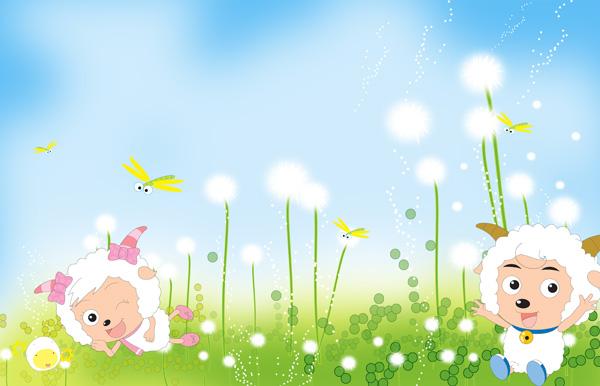 关键词: 喜羊羊与美羊羊卡通素材,卡通人物,蜻蜓,小草,清新,梦幻,可爱