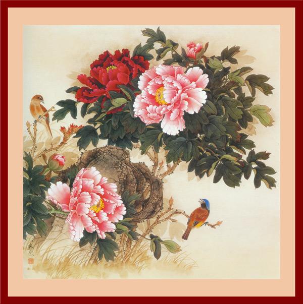 牡丹花鸟国画1