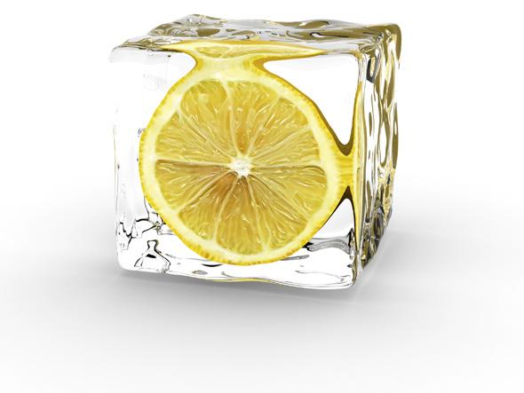 冰块里柠檬片