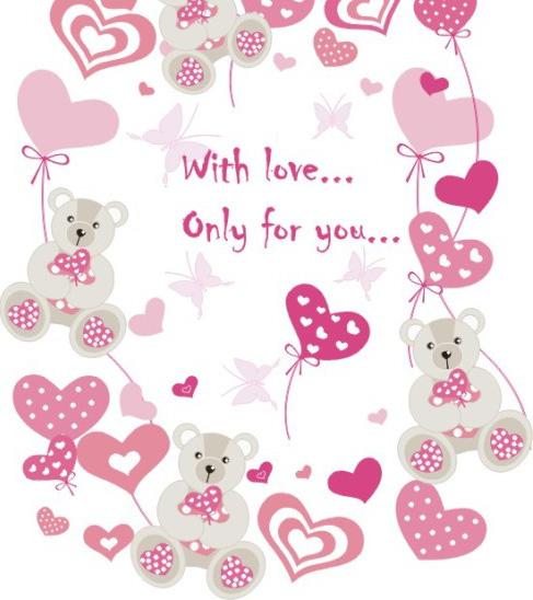 矢量情人节 所需点数: 0点 关键词: 泰迪熊,爱心,粉色,简笔画,矢量图