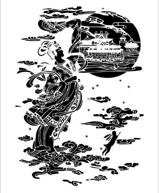 嫦娥玉兔简笔画步骤