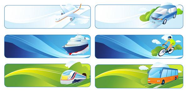 旅行旅游banner矢量素材,banner,旅行,旅游,交通工具,飞机,轮船,火车