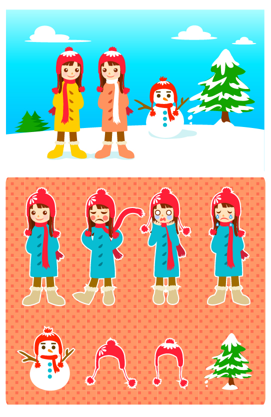 素材分类: 矢量卡通角色所需点数: 0 点 关键词: 雪人和小女孩矢量