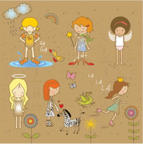 矢量卡通人物,女孩子,蝴蝶