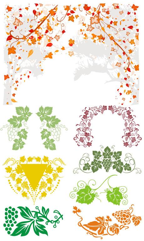 葡萄藤装饰边框花纹素材