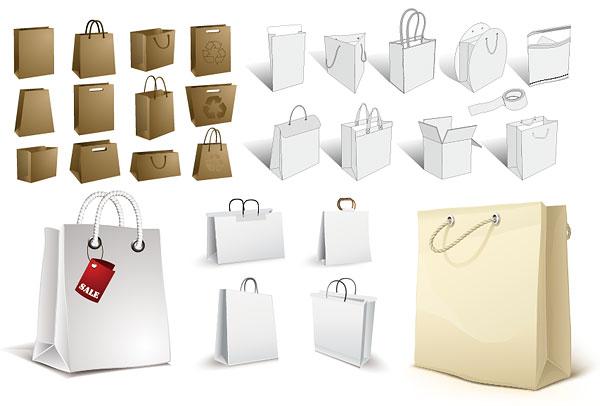 素材分类: 矢量设计元素所需点数: 0 点 关键词: 多款空白手挽袋矢量