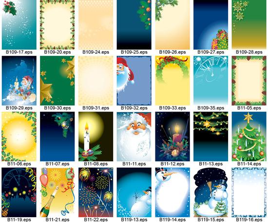28款圣诞节展板模板矢量图,圣诞节,圣诞节素材,圣诞树,雪人,圣诞蜡烛