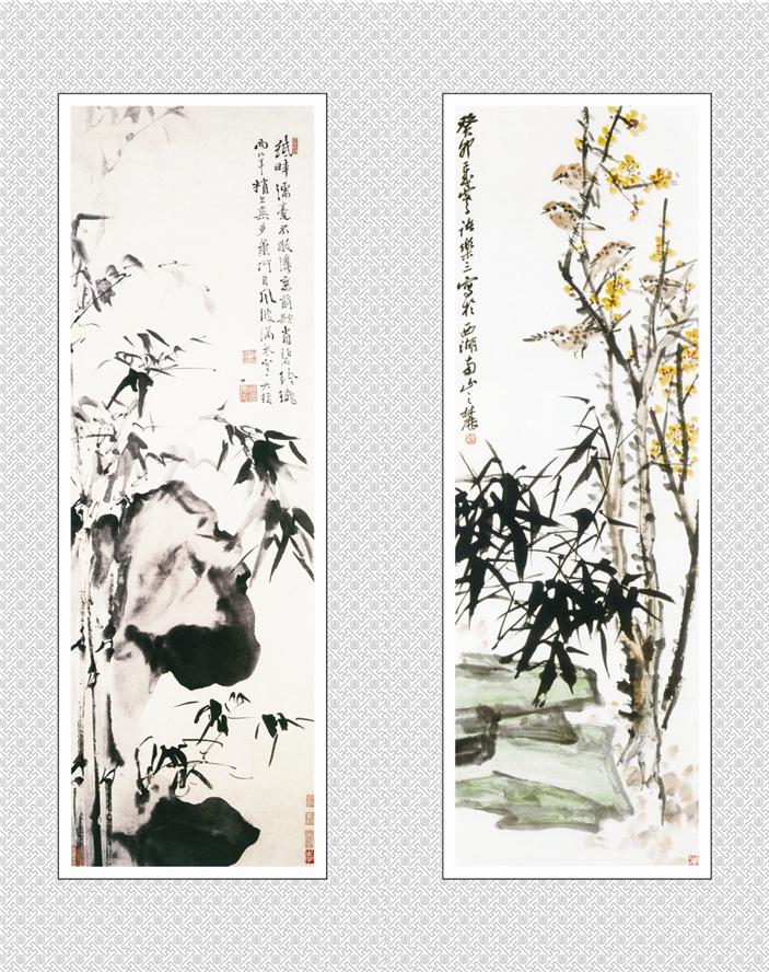 国画之竹石-竹雀