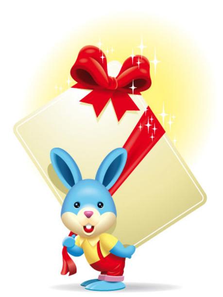 可爱的卡通小兔子—送卡片(一)