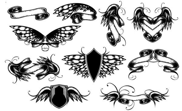 出品欧式古典图案矢量素材,banner,翅膀,丝带,蝴蝶,盾牌,潮流,图腾图片
