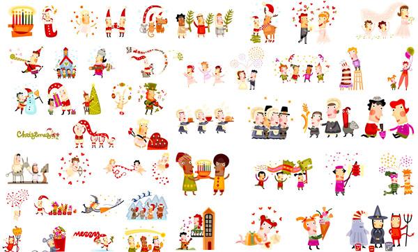 圣诞节人物矢量_素材中国sccnn.com
