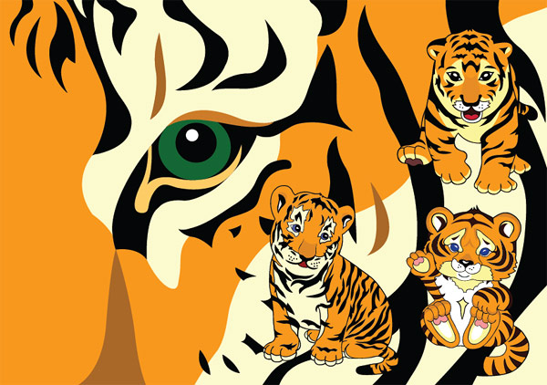 小老虎矢量_矢量野生动物