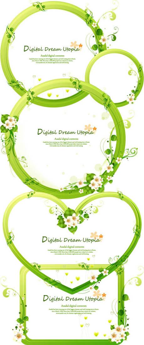 关键词: 植物边框矢量素材,植物,花,装饰边框,缠绕,绿色,简单花纹