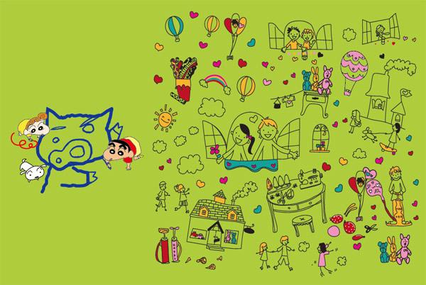 可爱卡通画矢量素材,简单,卡通,可爱,蜡笔小生,小白,热气球,彩虹,线条