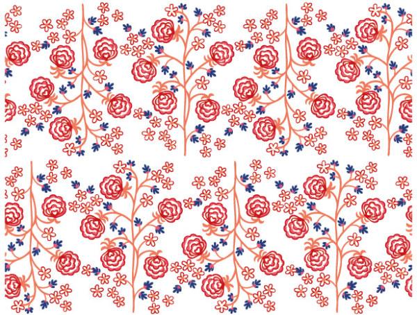 手绘线条小花树背景矢量素材