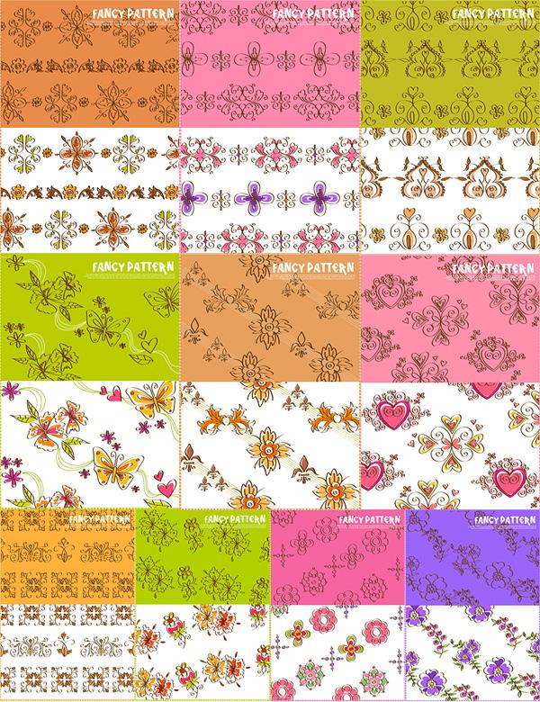 10款可爱手绘花纹矢量素材
