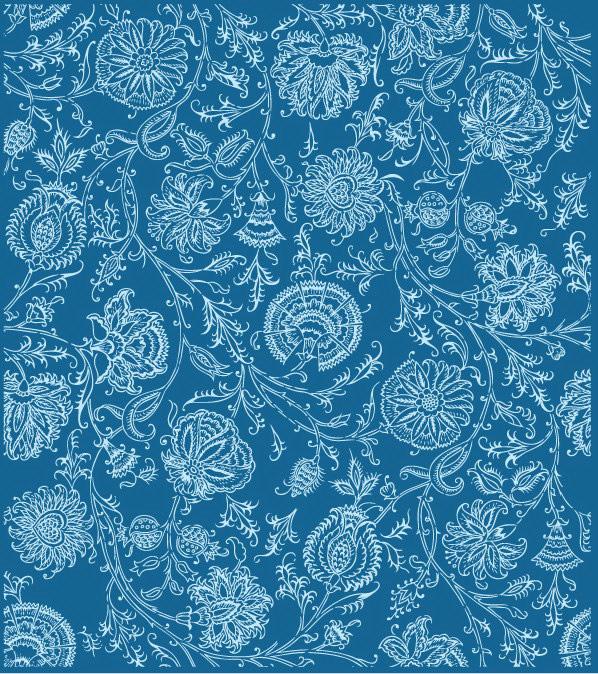 线条花朵花纹背景矢量素材