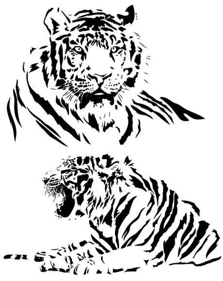 动物头像黑白画