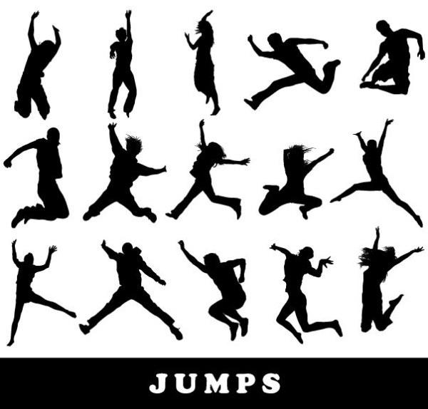 人物,跳跃,弹起,欢呼,奔跑,剪影,人物剪影,跳起,高兴,兴奋,矢量素材图片