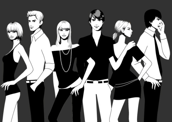 素材分类: 矢量男性人物所需点数: 0 点 关键词: 时尚男女黑白照片矢