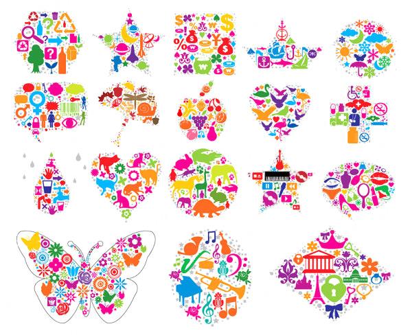 形状矢量素材,剪影,图案,图形,星星,五角星,船,圆形,对话框,苹果,心形