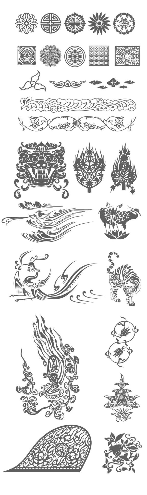 好看的花纹图案简笔画 中国风