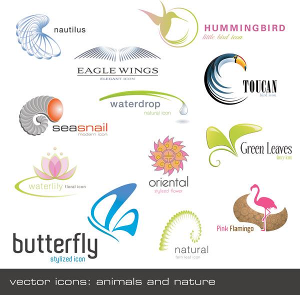 动物植物形状logo