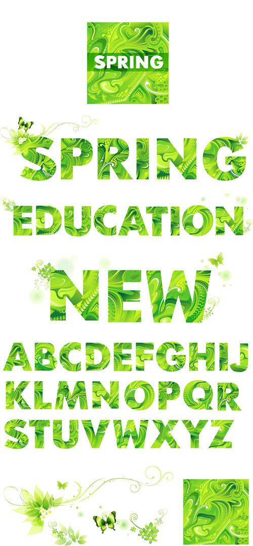 关键词: 绿色春天英文字母矢量素材,绿色,春意,春天,花纹,字母,英文