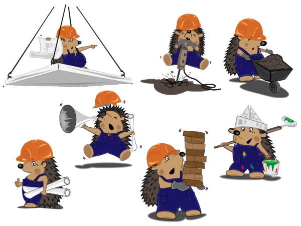 刺猬建筑工人